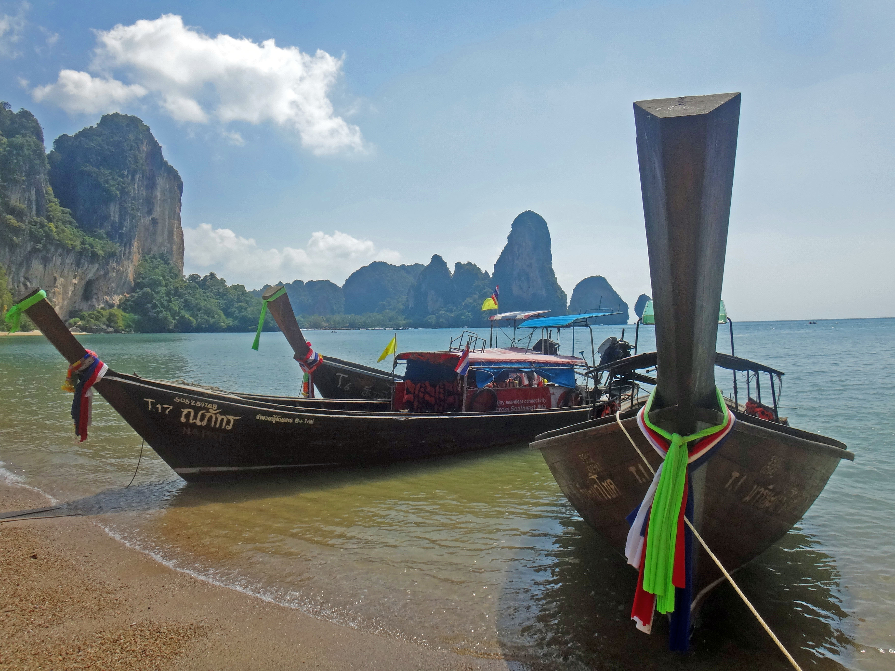 Longtail boat and Railay Beach