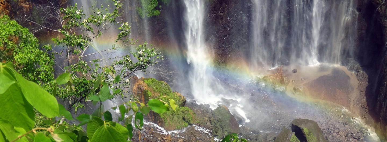 Rainbow at Sewu waterfall