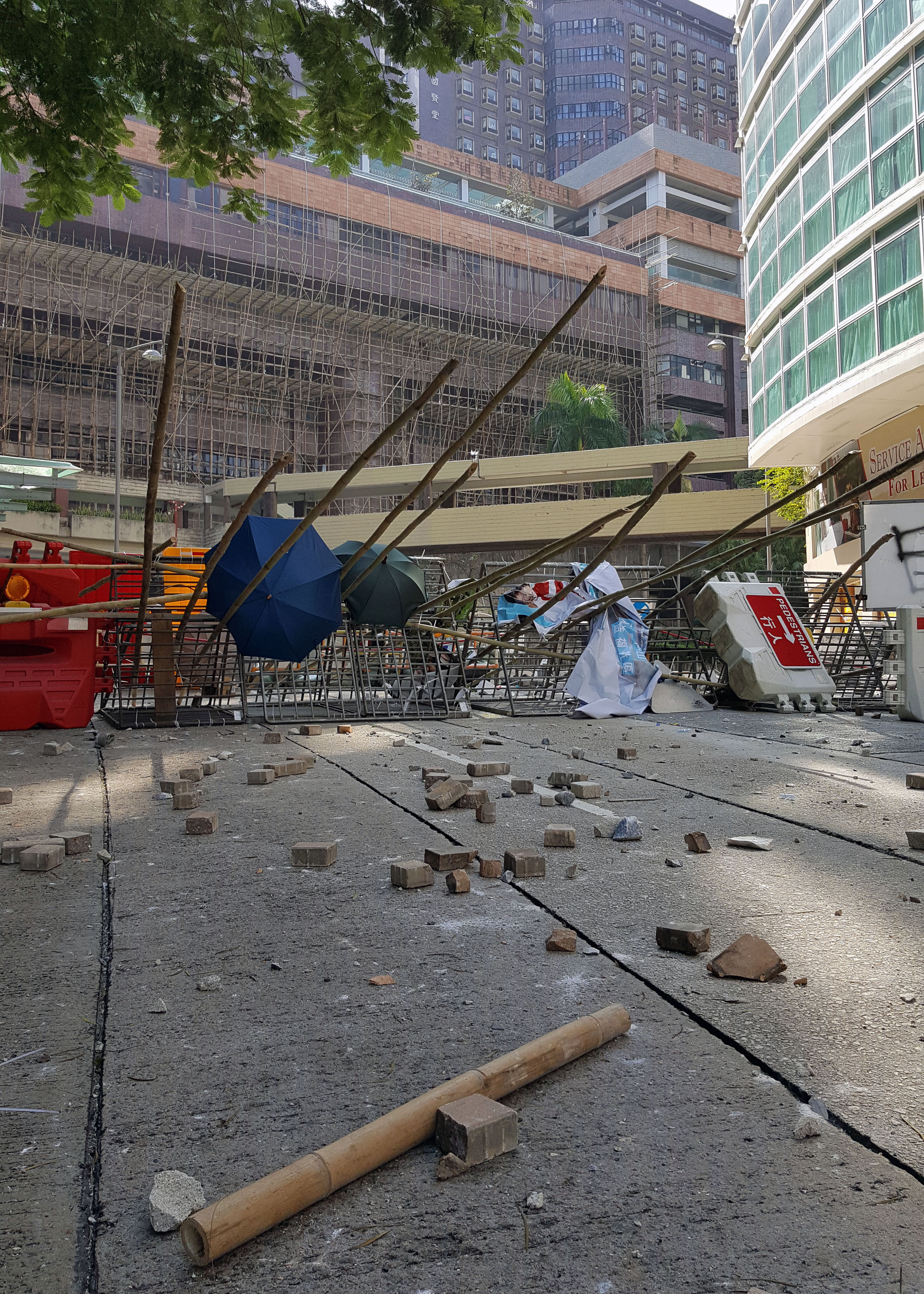 Barricades during the protests in Hongkong