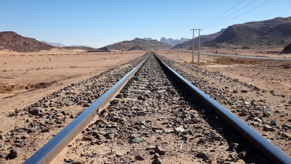 A railtrack in Jordan leading to Wadi Rum
