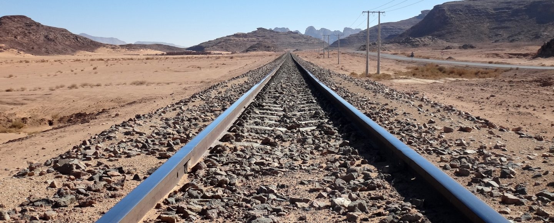 A railtrack in Jordan leading to Wadi Rum