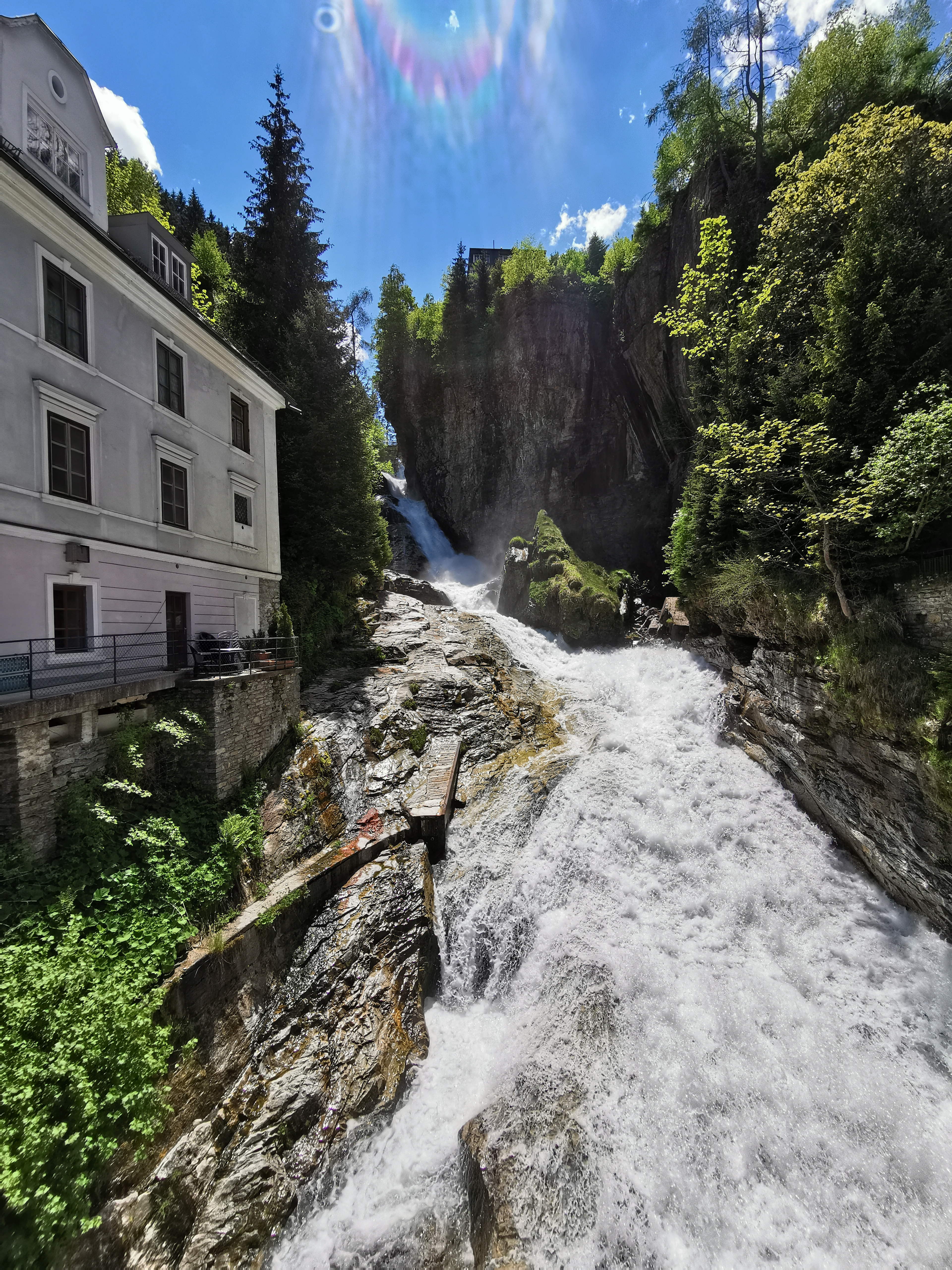 The waterfall in the centre of Bad Gastein