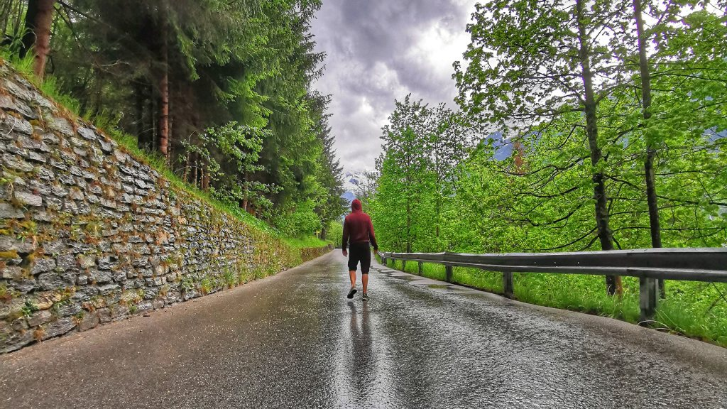 Me on a rainy road in Austria