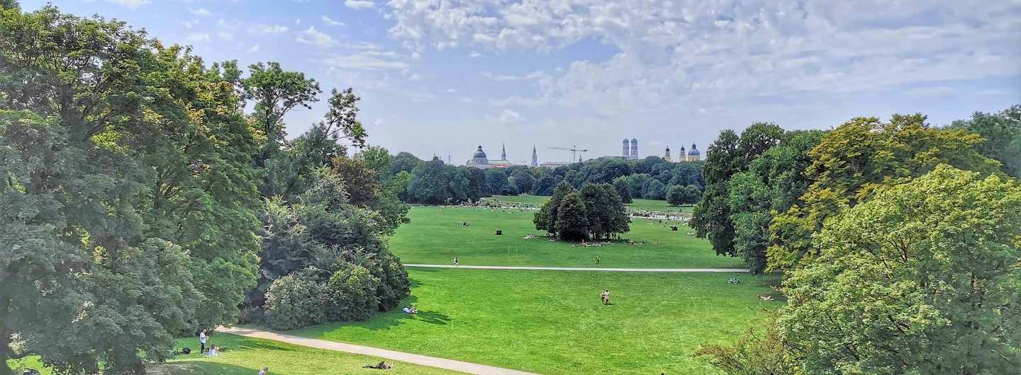 The skyline of Munich seen from Monopteros